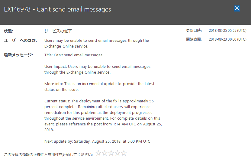 office365サービス正常性 イー・レンジャー株式会社