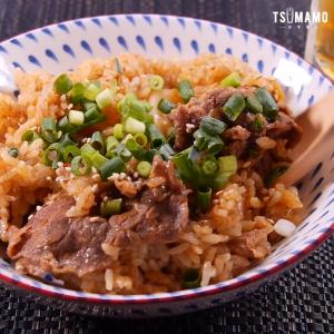 キムチと牛肉切落しの炊き込みご飯