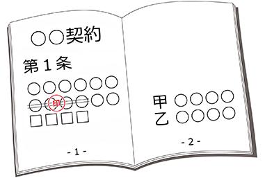訂正印の押し方を示した画像です