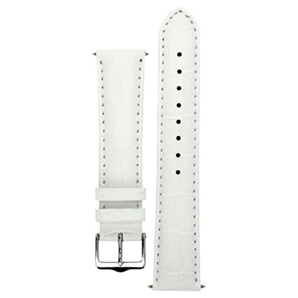 Signature Senator watch band. Watch spare bracelet. Genuine Leather. Steel buckle (white, 20 mm-short size)