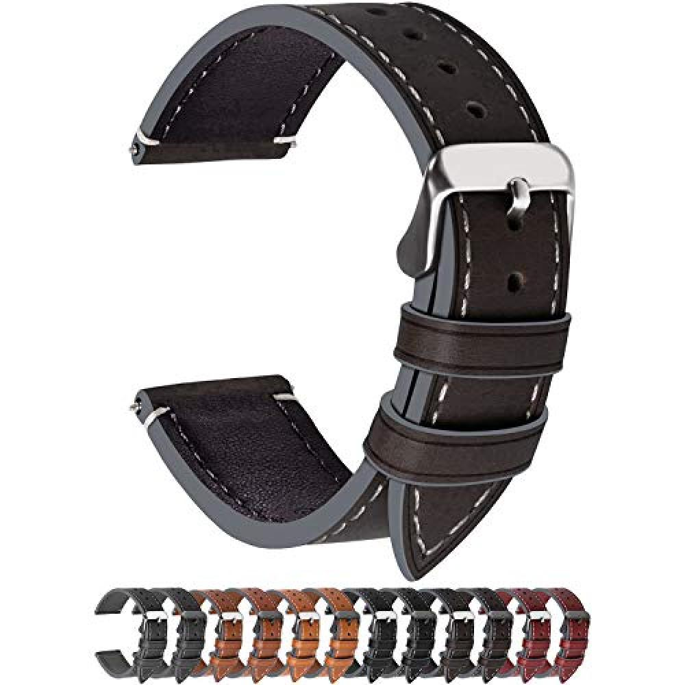 Watch Band Belt 20mm, Fullmosa Smart Watch Band Belt Watch Band 18mm 20mm 22mm 24mm Replacement Belt Genuine Leather 20mm Coffee Color + Silver Buckle