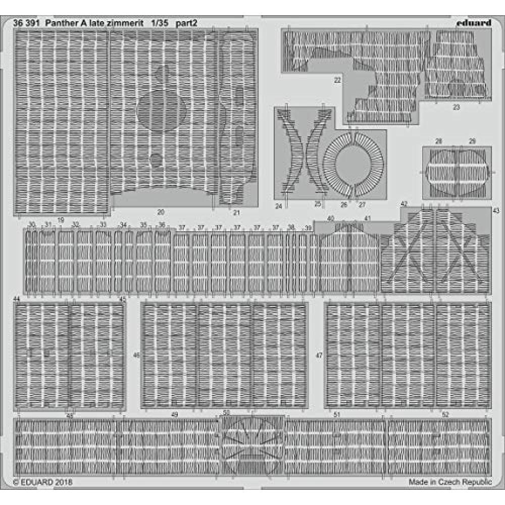Eduard 1/35 Panther A type late type Zimmerit coating (for) plastic model parts EDU36391