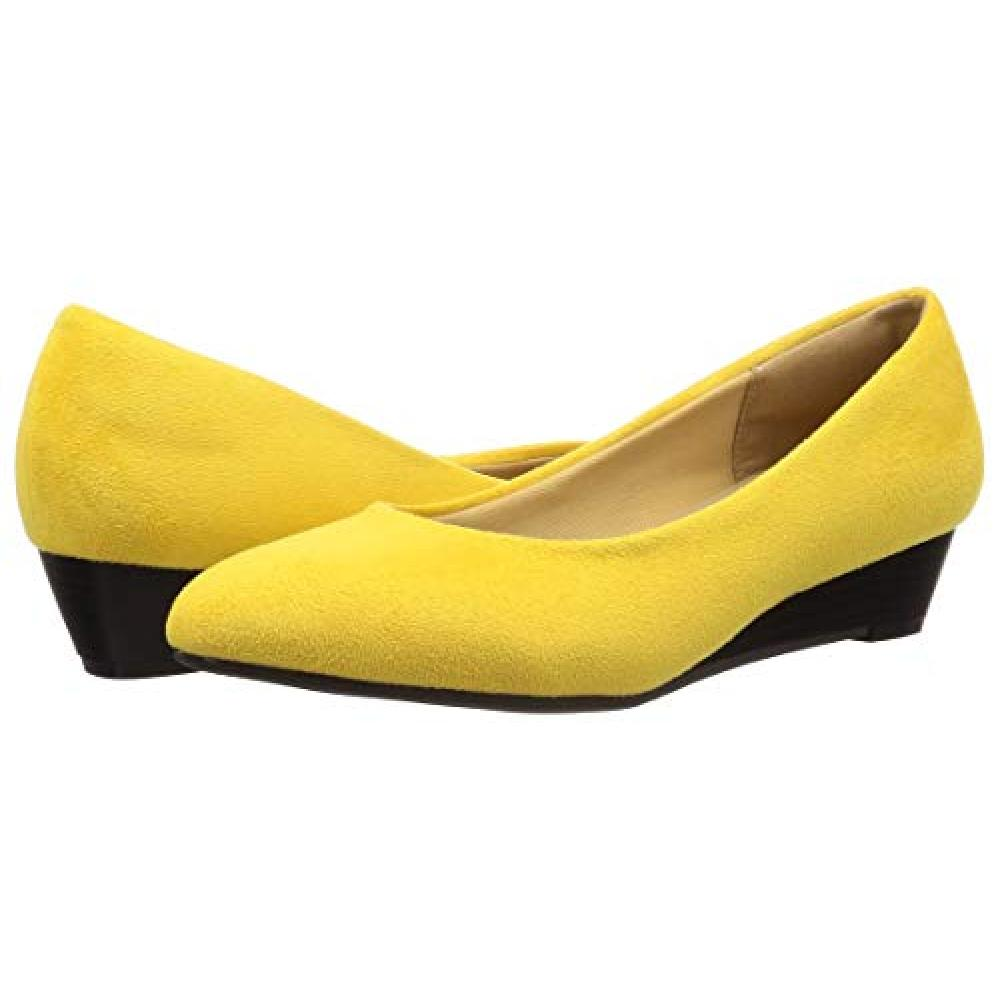 [Liberty Doll] silhouette and wear functionality in pursuit of comfort 3.5cm wedge heel Pointed Toe Pumps / 1120 1120 Ladies mustard suede 23 cm