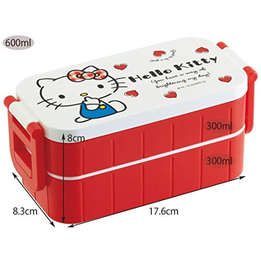 Skater Lunch Box 2 Tier Lunch Box Hello Kitty Red Heart Sanrio 600ml YZW3