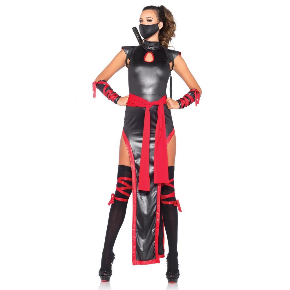 LEG AVENUE (Leg Avenue) Shadow Ninja Long Wet Look dress sash face mask arm guard thigh set S Black / Red 85400