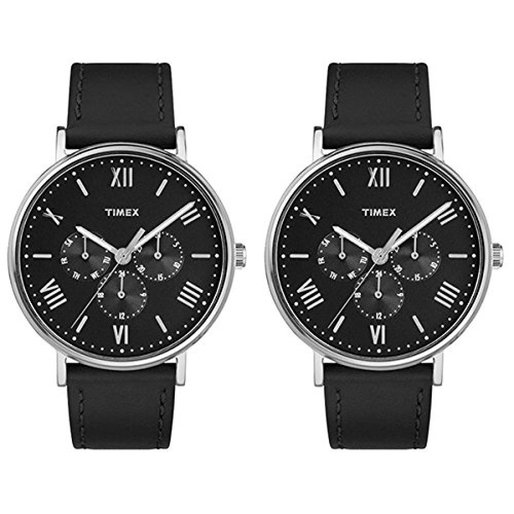 [Timex] TIMEX Pair with BOX Men's Ladies Pair Watch Southview Multi Function Silver Case Black Leather TW2R29000TW2R29000 Watch []