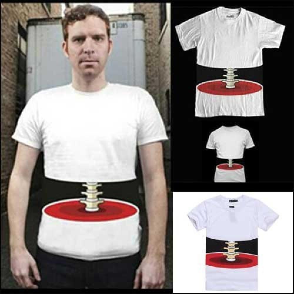 It was cut into round slices! ? Interesting 3D T-shirt size L round slices (japan import)