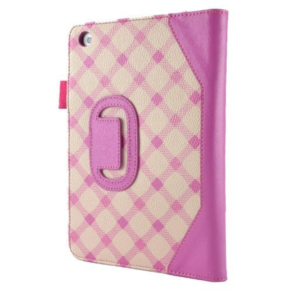 caseen [iPad mini compatible check pattern standing leather case] SKINNY Plaid Hand Strap Strap Case pink CS-80238