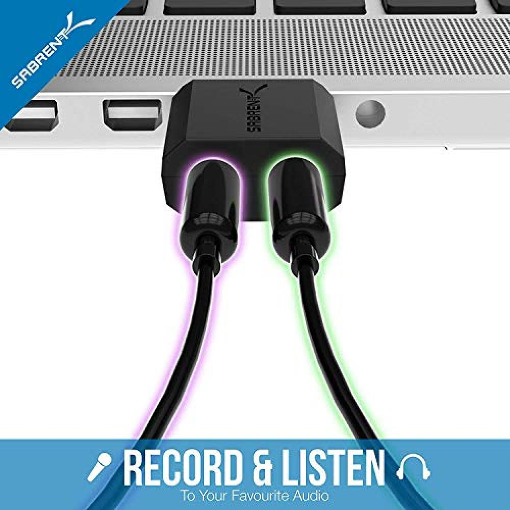 Sabrent USB Audio Converter Adapter Compatible with Windows and Mac No driver required (AU-MMSA)