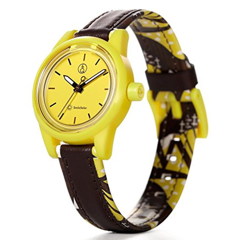 Q & Q SmileSolar watch native dress Tanzania 10 ATM water resistant leather belt yellow × Brown RP01-022
