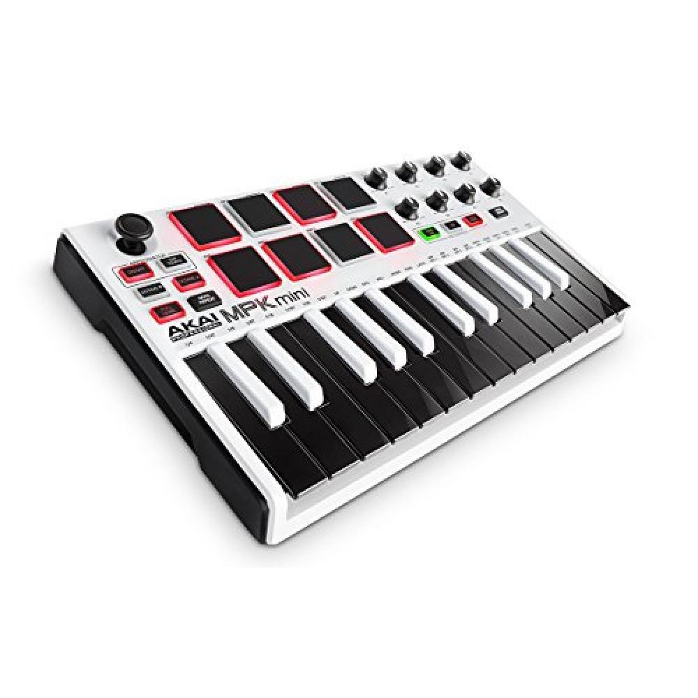 AKAI Professional MPK MINI MKII LE White - Teclado Controlador MIDI USB Portátil con 25 Teclas, 8 Pads MPC, 8 knobs, Joystick, VIP 3 y Software