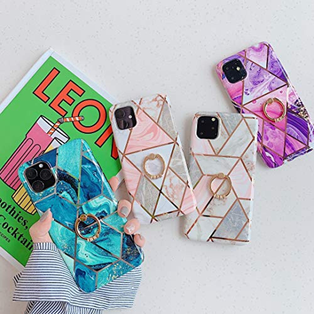 Smartphone Case iPhone 11 Pro Case (5.8 Inch) Marble Fashion Couple Cellphone Case Shock Resistant Scratch Resistant Wireless Ring Holder TPU Material IMD Process Excellent Wear Resistance, Lightfastness such as Fading Black (iPhone 11 Pro, Pink)
