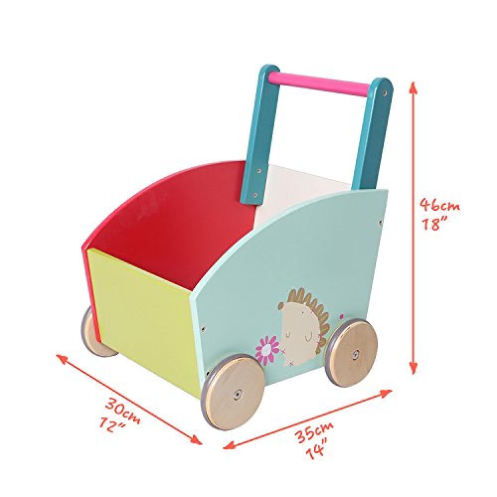 Labebe children Walker push & pull wheelbarrow Toy Wagontoi rattling walker - green hedgehog