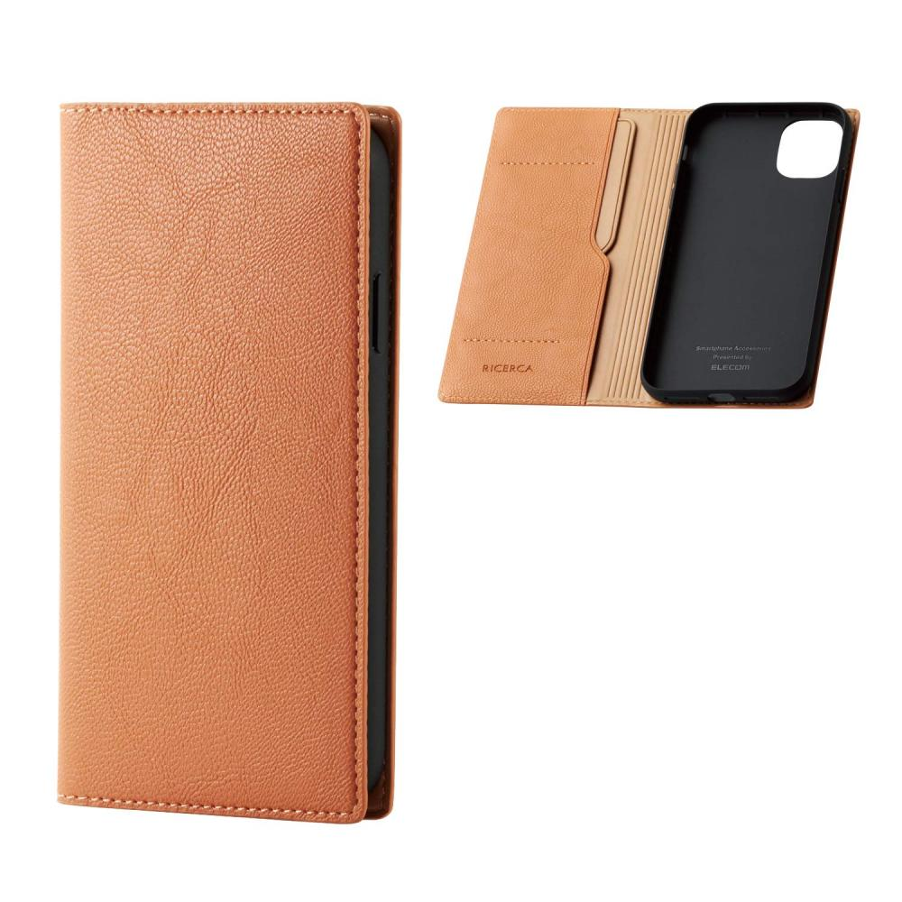 ELECOM iPhone 11 case RICERCA soft leather [Use smooth and fine soft leather of Italian brand] Orange squash PM-A19CPLFYILDR