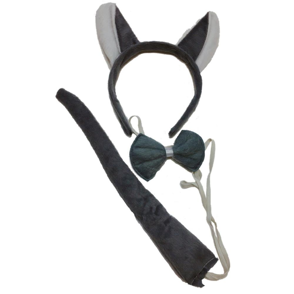 (ADOSSY) animal makeover cat ear headband tail tie choker set (black-and-white cat)