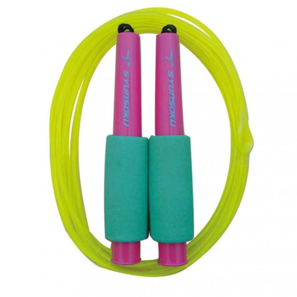 Debica blinking rope jump hex fiber 270 cm cherry mint × neon yellow 103542