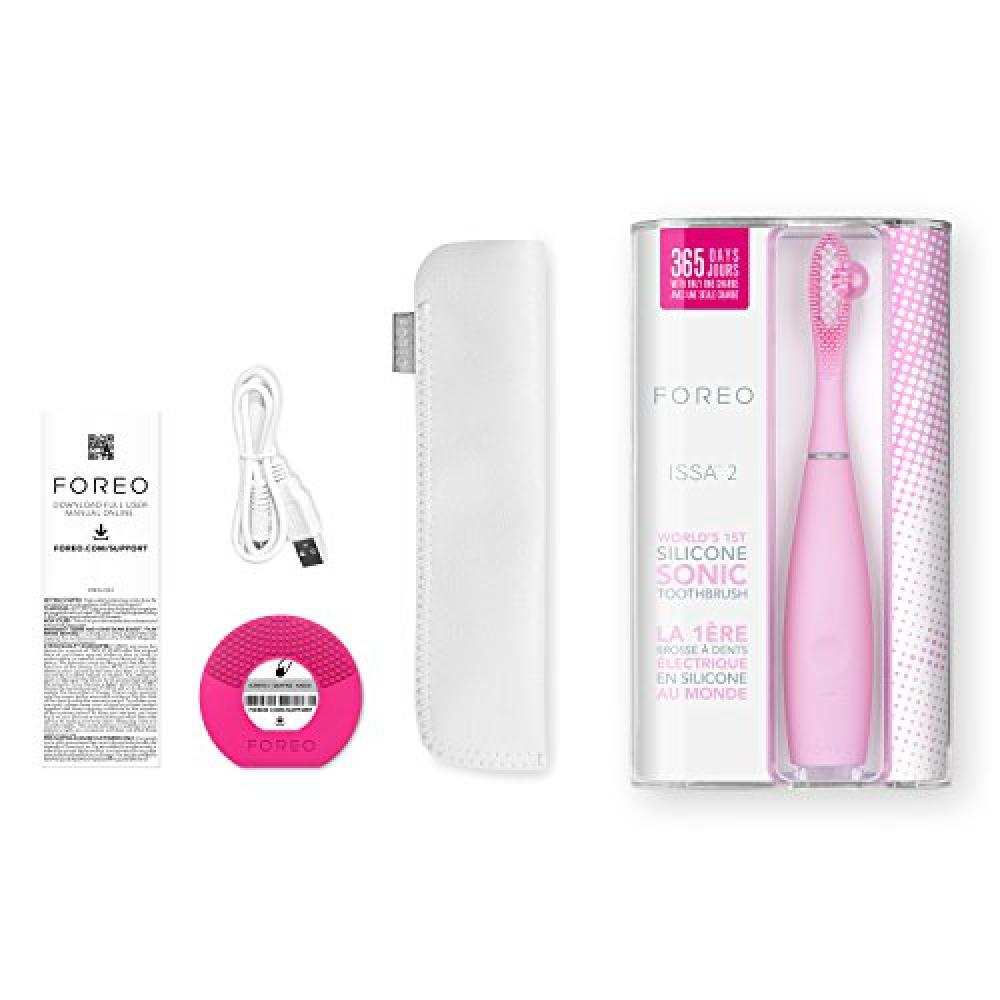 FOREO ISSA 2 pearl pink electric toothbrush silicone ultrasonic vibration Rechargeable
