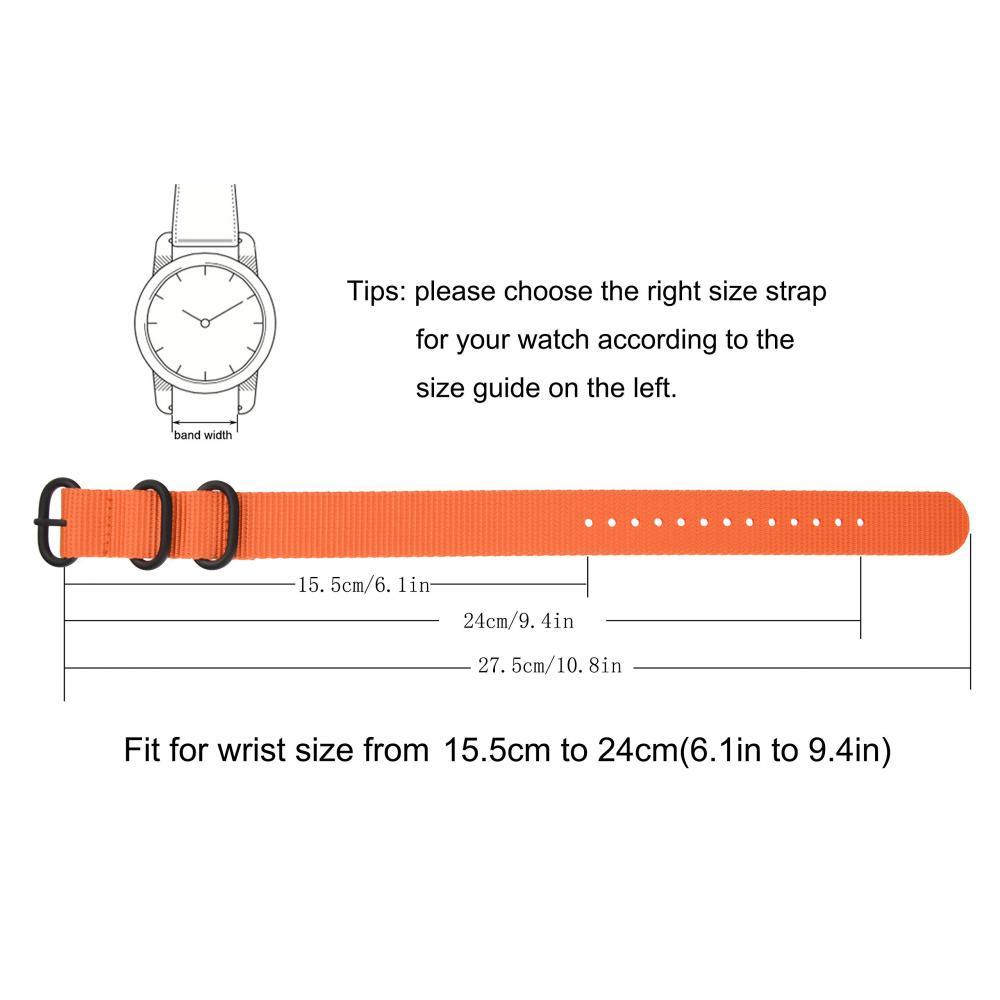 20mm Orange Mens One Piece ZULU NATO Style Watch Band Heavy Duty Buckle Strap