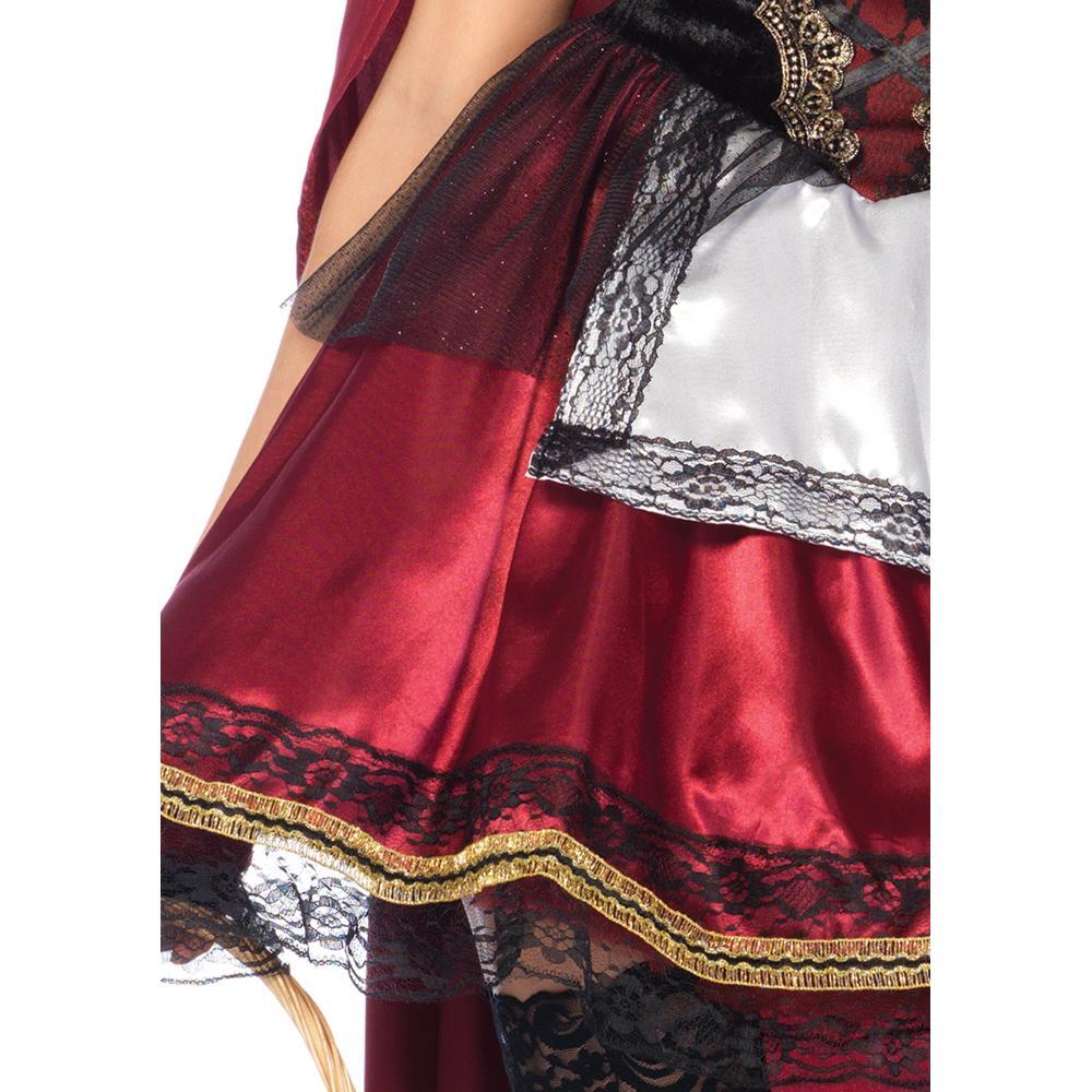LEG AVENUE Captivating Miss Red Dress Hooded Long Cape Set Costume Burgundy Ladies L Size