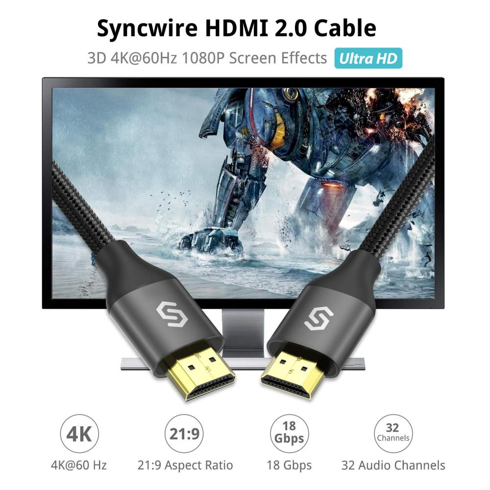Syncwire Premium HDMI cable High speed 3M [Nintendo Switch compatible] 18Gbps hdmi 2.0 cable 4K Ultra HD/3D/ Ethernet/Audio return/Fire TV/Apple TV etc.