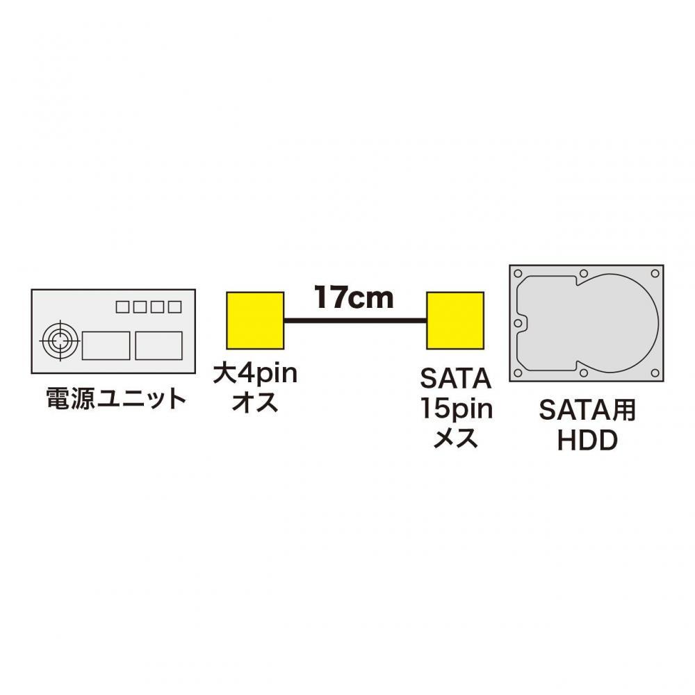 Sanwa Supply Serial ATA power cable with latch (Large 4pin male-SATA15pin female) TK-PWSATALAN