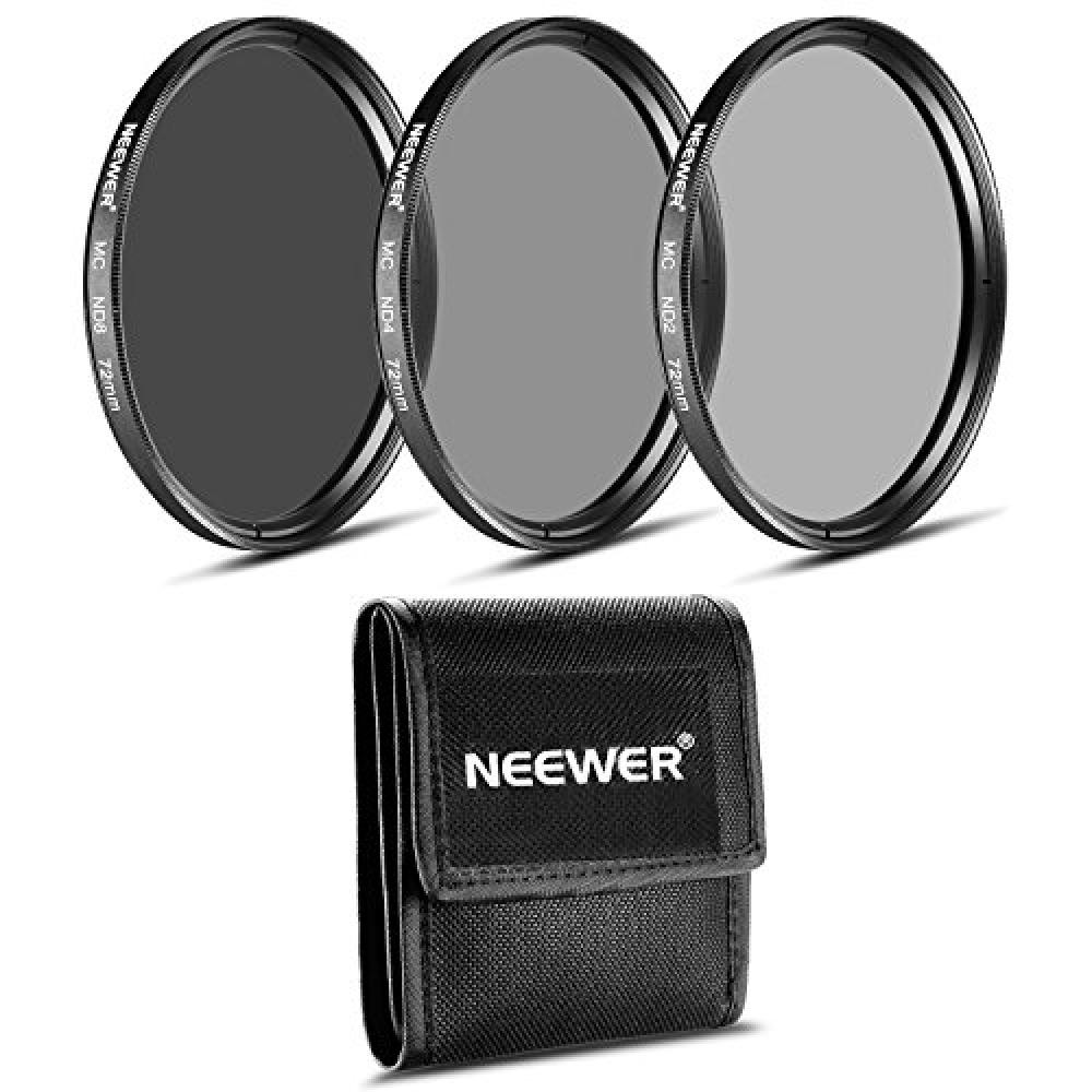 NEEWER 72MM ND Filter Kit (ND2 ND4 ND8) + Cleaning Cloth CANON EF-S 18-200mm f/3.5-5.6 IS, EF 28-135mm f/3.5-5.6 IS USM・NIKON 24-85mm f/3.5-4.5G ED VR Compatible with AF-S, 18-200mm f/3.5-5.6G AF-S ED VR II zoom lens