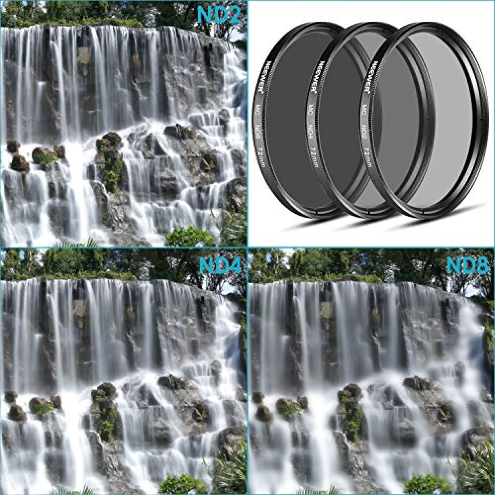 NEEWER 72MM ND Filter Kit (ND2 ND4 ND8) + cleaning Claus CANON EF-S 18-200mm f / 3.5-5.6 IS, EF 28-135mm f / 3.5-5.6 IS USM · NIKON 24-85mm f / 3.5-4.5G ED VR AF-S, corresponding to 18-200mm f / 3.5-5.6G AF-S ED VR II zoom lens