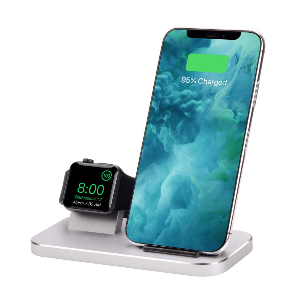 BNCHI 2019 Newest Qi Wireless Charger, Rapid 2 in 1 Aluminum Alloy Charging Stand, Suitable for Apple Watch 5/4/3/2/1/iphone 11/iphone11 Pro/iPhone Xs/iPhone Xs Max/iPhone XR/ iphone 8/ iphone 8 Plus/iPhone X and other Qi compatible models (silver)