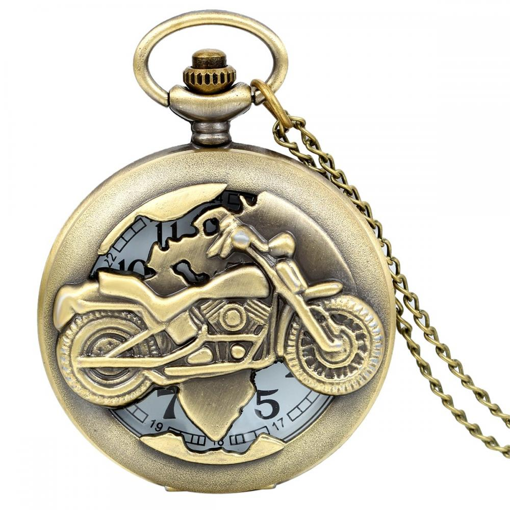 JewelryWe Pocket Watch Openwork Locomotive Bike Type Motorcycle Skeleton Antique Necklace Watch Pocket Watch (Silver) Birthday Gift Gift