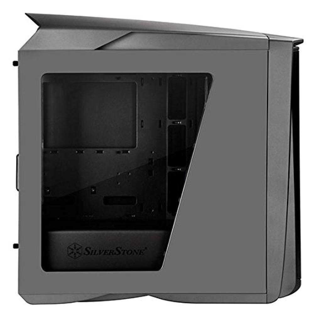 SilverStone Primera Series LED Fan PC Case SST-PM01TR-W (Titanium, Red LED + Window)