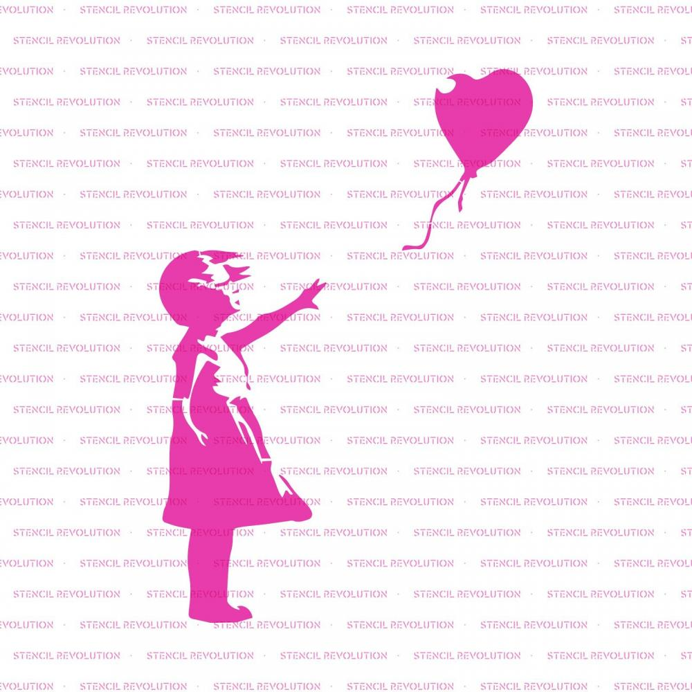 "Girl with a Balloon Wall and Crafts – Reusable Banksy Banksy Stencil Stencil for painting in smallLarge Size – Made in USA 48""x32"""