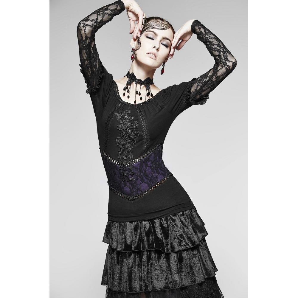 PUNK RAVE dark Gothic Gothic A pattern & fake belt line see-through long sleeve double-layer cut black & violet Ladies M size PR-T373BKVL-FM