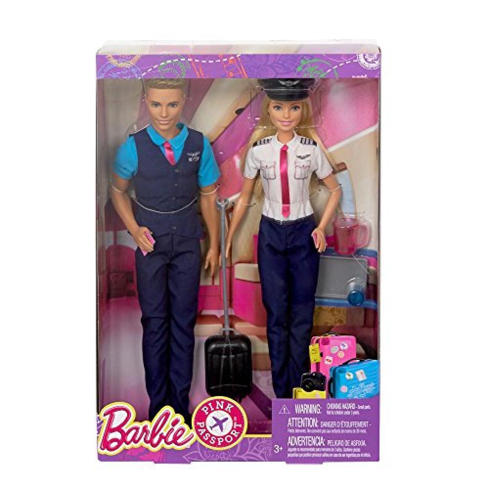 Barbie Pink Passport Barbie & Ken flight attendant FNY33