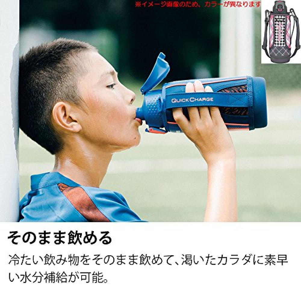 Thermos (THERMOS) water bottle vacuum insulation sports bottle [one-touch open type] Gray Gingham 1.0L FFZ-1002F GGM