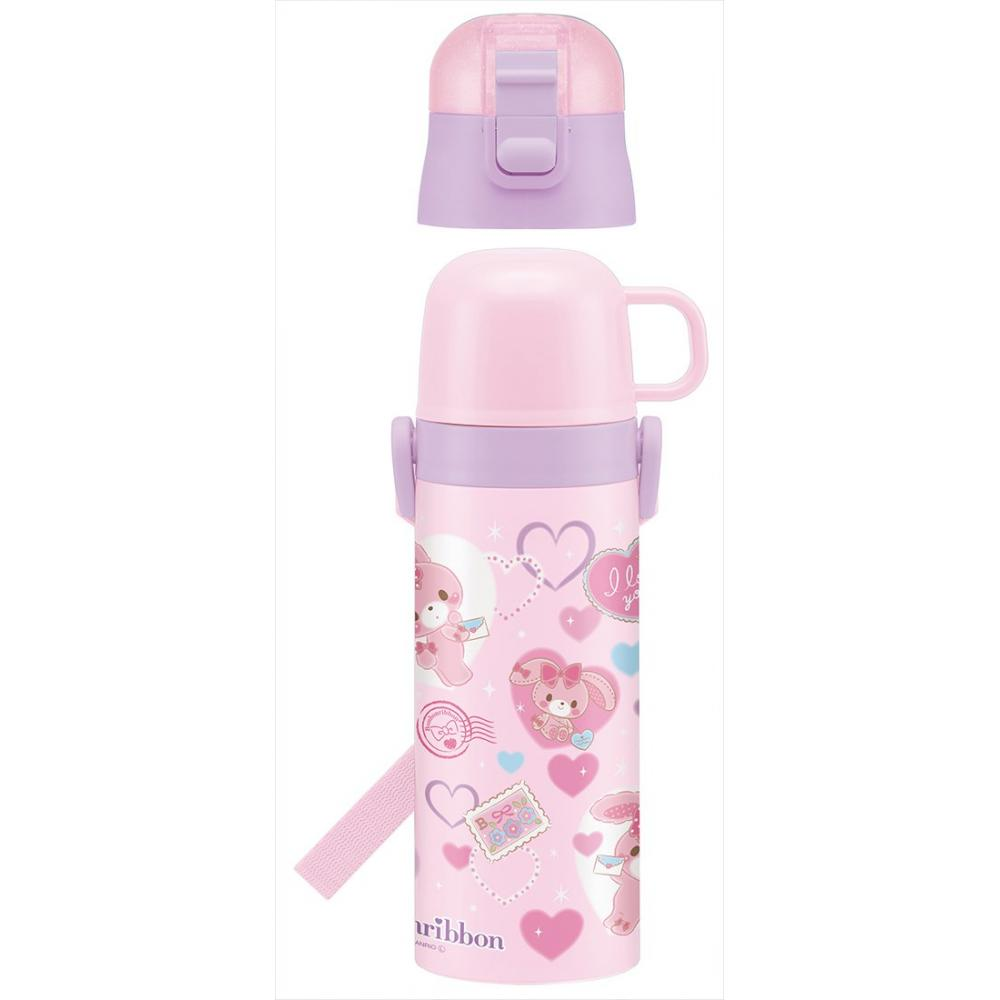 Skate kid 2WAY stainless steel water bottle with cup Bonbon ribbon love letter SKDC4