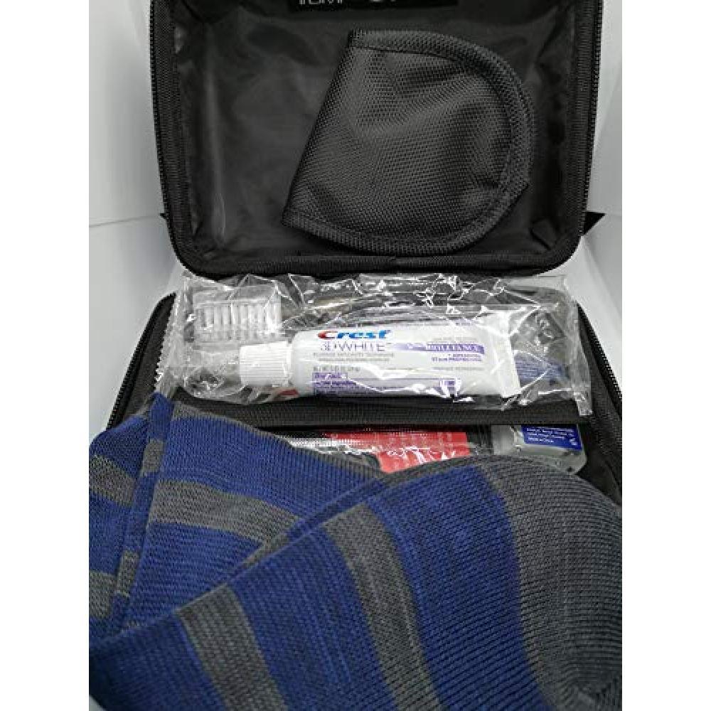 Delta Air Lines (DELTA) Tumi (TUMI) business class amenities Pouch Case color gray hard case ribbon Black