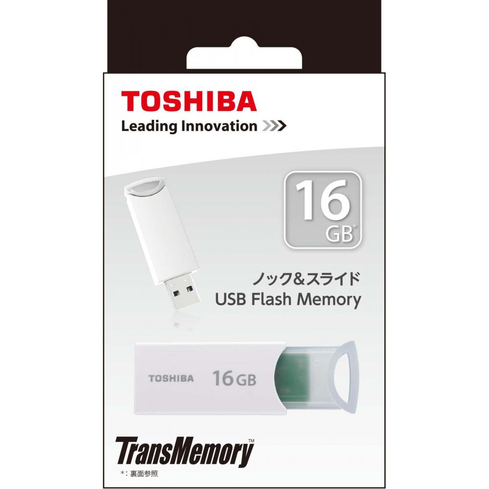 TOSHIBA USB memory 16GB USB2.0 knock & slide type white 1 year UKA-2A016GW