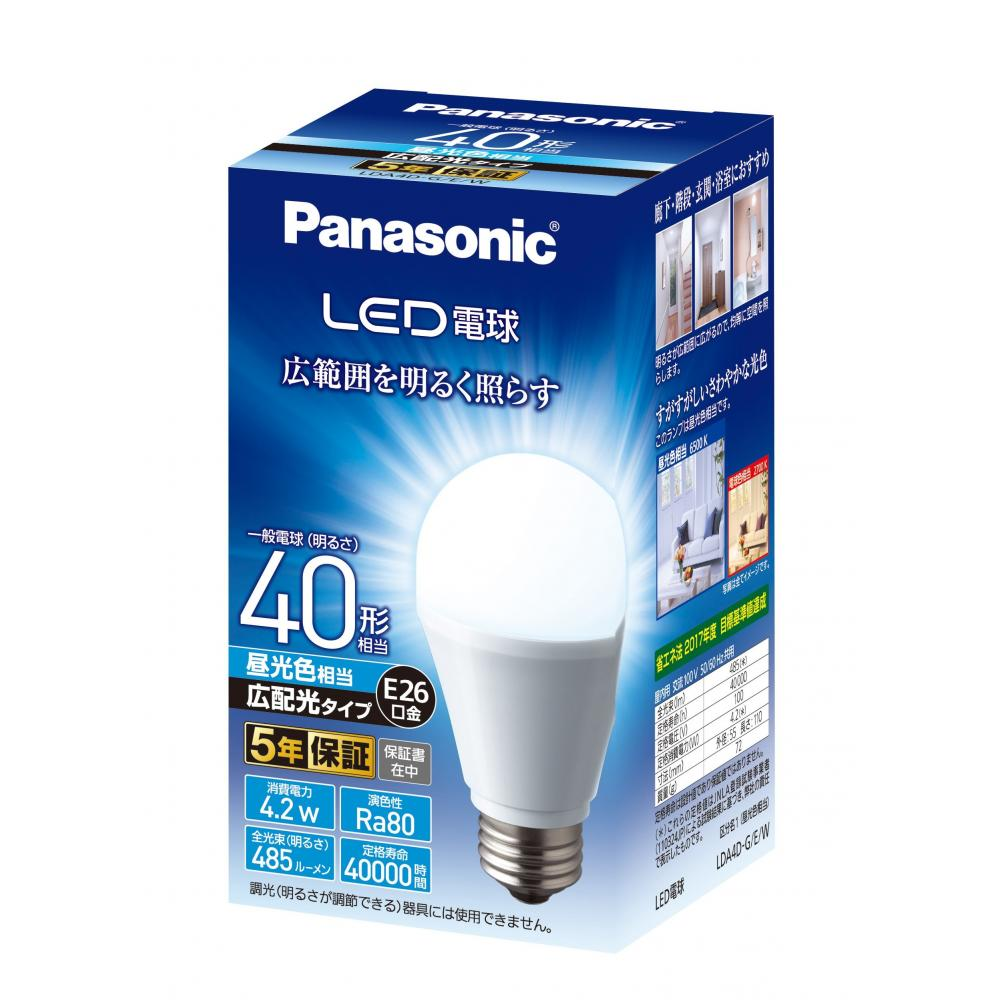 Panasonic LED light bulb with a diameter of 26 mm Equivalent to 40 W light bulb Equivalent to daylight color (4.2 W) 1 general light bulb / wide light distribution type Sealed type compatible LDA4DGEW