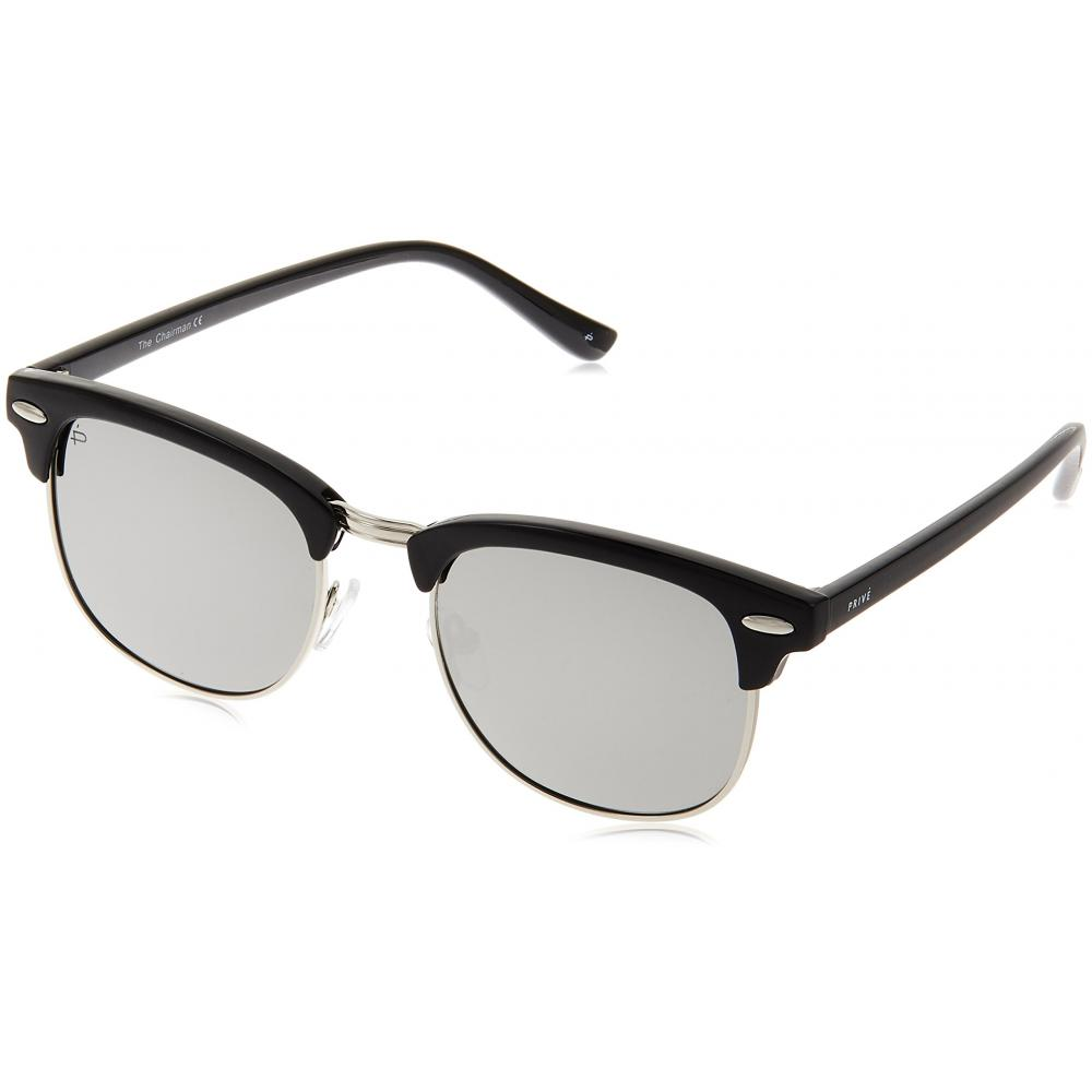 (Privelvaux) PRIVÉ REVAUX Polarized Sunglasses The Chairman Unisex AC10180 -GRAY Silver Mirror x Black & Silver FREE