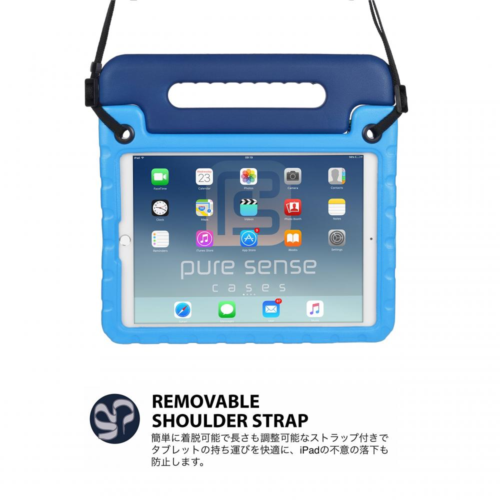 Pure Sense Cases BUDDY Antibacterial Cases [iPad 10.2 7th Generation / Air 10.5 2019 3rd Generation / Pro 10.5 2017] Shoulder Strap Children Impact Resistant Light Weight Handle Stand (Blue)