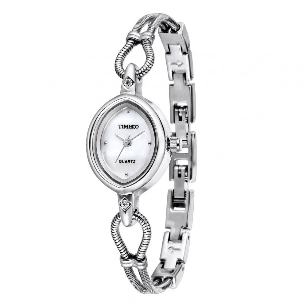 Time100 Wrist Watch Bracelet Ladies Shell Dial Fashion Unique Spring Band W40123L.01A (Silver)