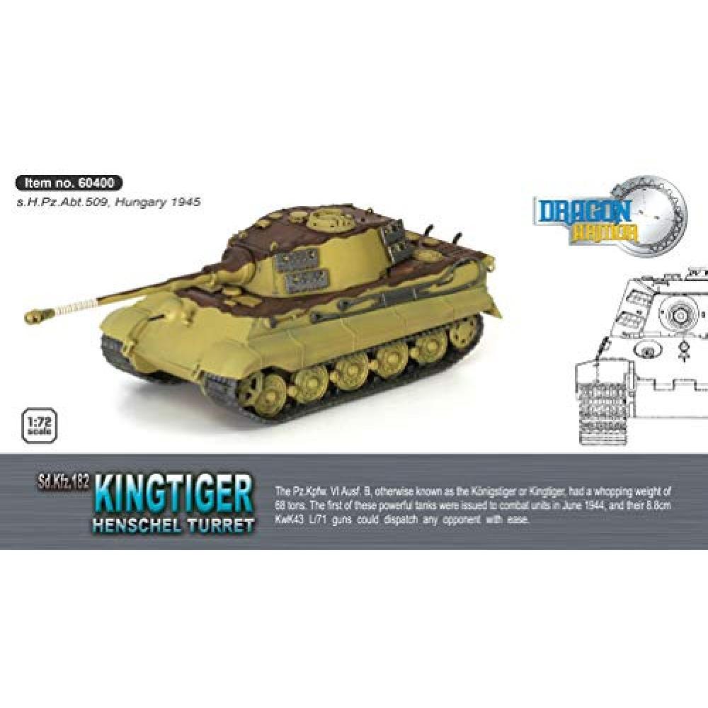 Dragon Armor 1/72 World War II German army heavy tank King Tiger Henschel Turret cost 09 Heavy Tank Battalion Hungary 1945 Painted DRR60400