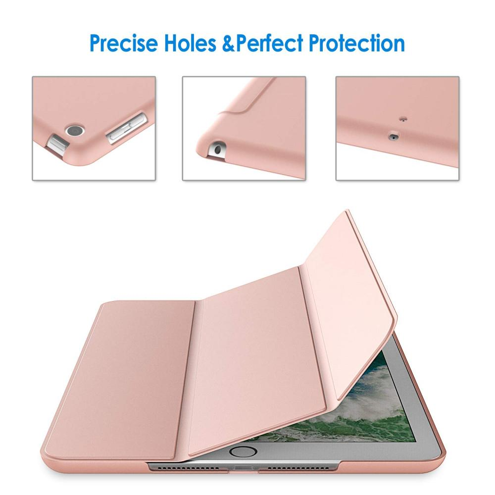 JEDirect iPad 9.7 inch (2018/2017, 6th/5th generation) Case PU Leather Tri-fold Stand Auto Sleep Function (Rose Gold)