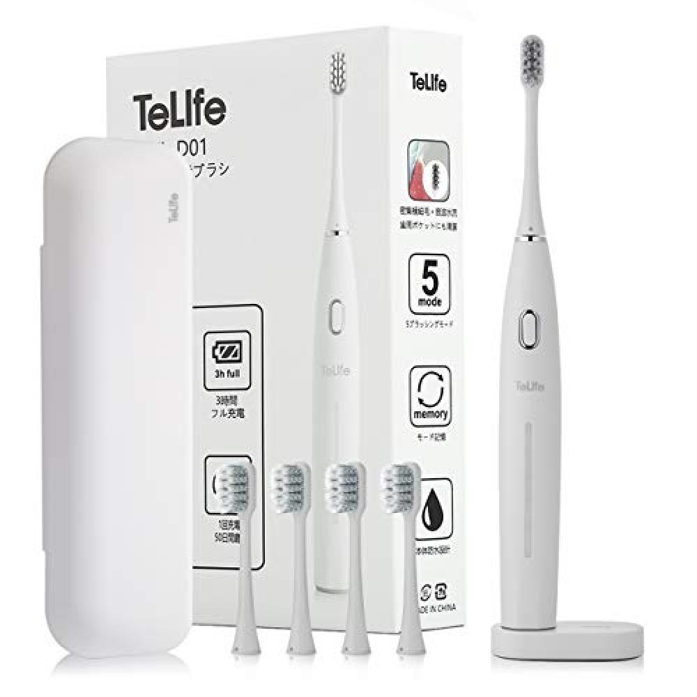 Electric toothbrush -TeLife- toothbrush - sonic toothbrush fast charging 50 days Shine five modes replacement brush five storage running costs low Japanese with instructions with case (White)