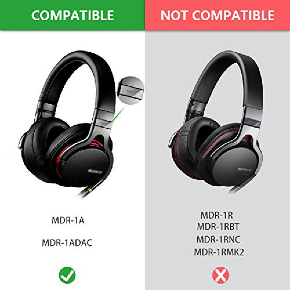 Geekria Ear Pad Sony MDR-1A, 1A-DAC etc. Replacement Headphone Pad Ear Cushion (Black)