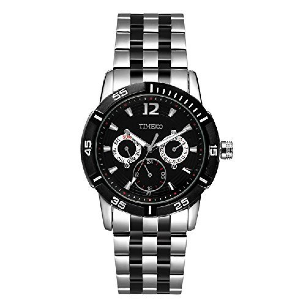 TIME100 Men's Wristwatch Business Style With Calendar Day of the Week Multi-Hand Multifunction Stainless Steel Band Quartz Wrist Watch W50311G.02A (Black)