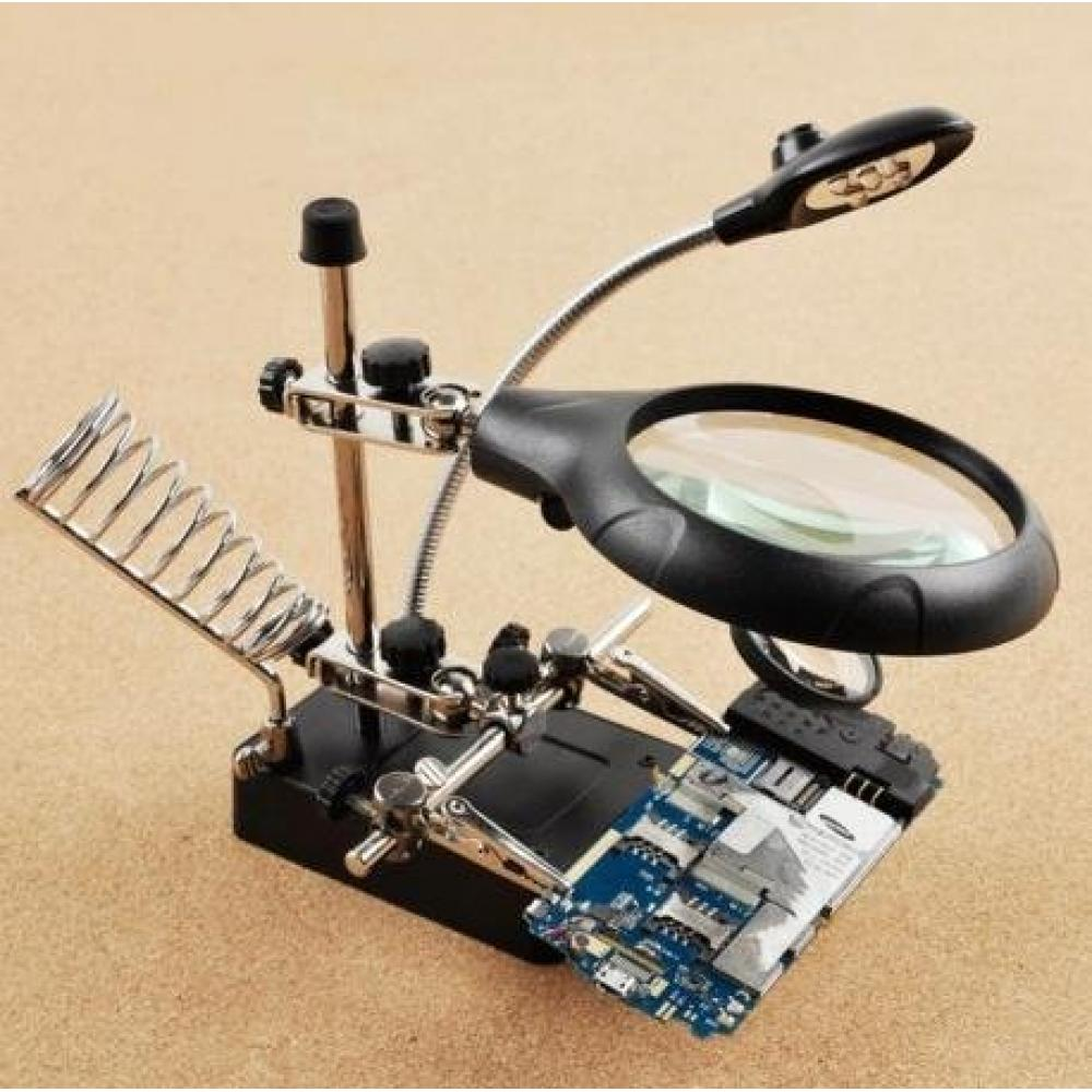 Precision work stand loupe fixing clip & soldering iron stand & battery & cleaning cloth (5 LED light separation type magnifying glass 2 types included)