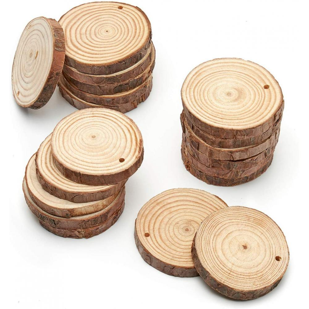 """Artesa 45-Piece Wood Slice with Bark Natural Unfinished Pine Diameter 2.4""""-2.8"""" Smooth and Beautiful Polishing Surface 50 Feet of Natural Jute String Art Craft for Wedding Ornament DIY Projects"""