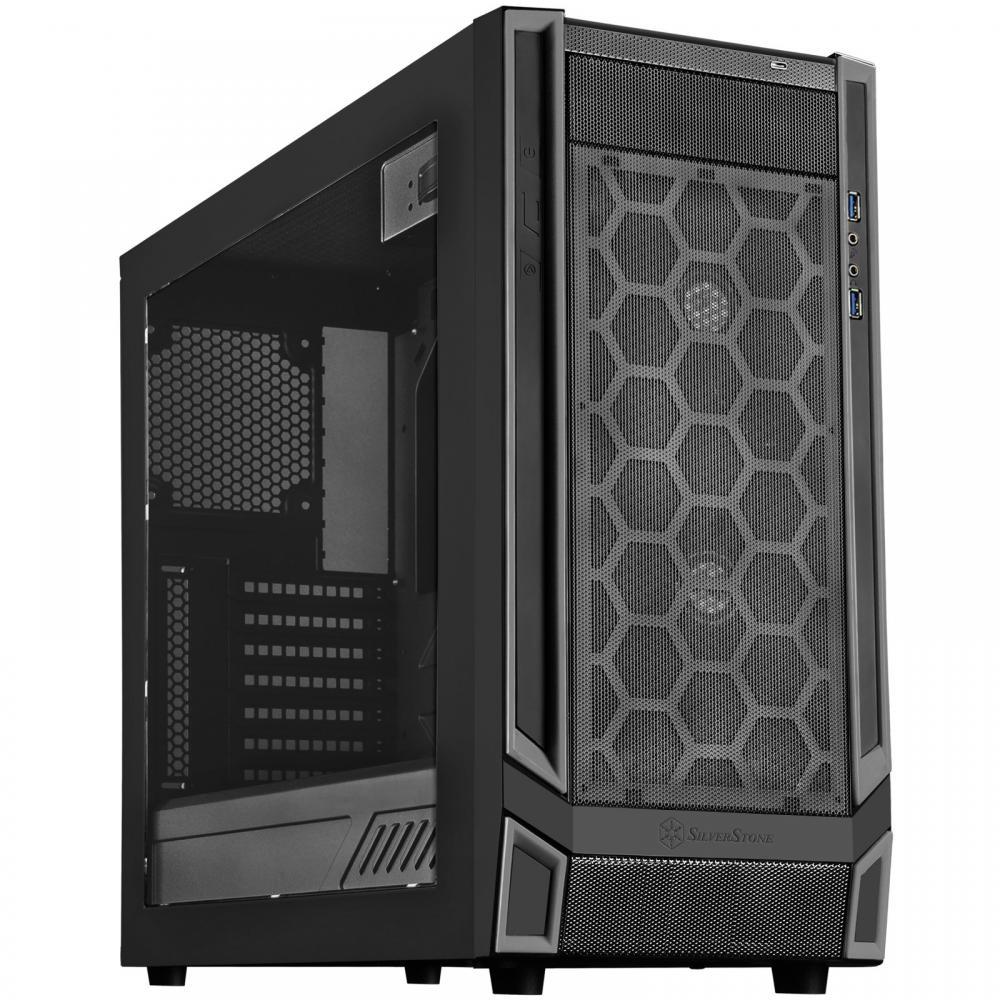 SilverStone REDLINE series ATX/MicroATX compatible PC case Acrylic window side panel Black/Black line SST-RL05BB-W Japanese product