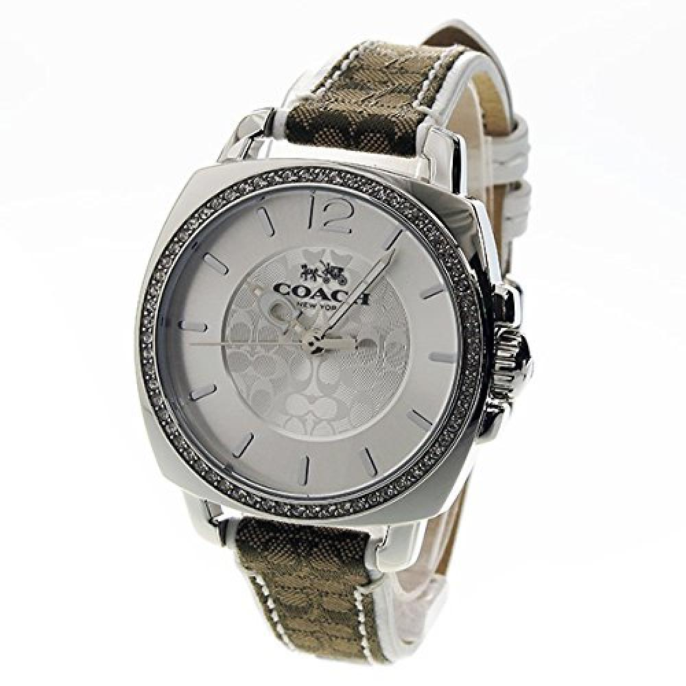 [COACH] COACH Ladies Boyfriend Signature-Silver x White Leather Crystal 14502416 Watch